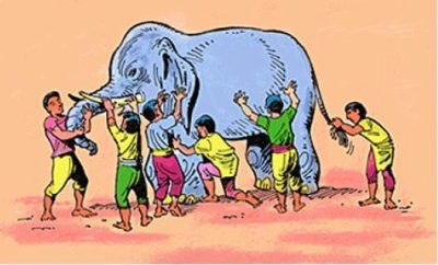 olifant met blinden